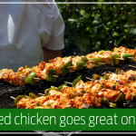 Skewered chicken goes great on the grill