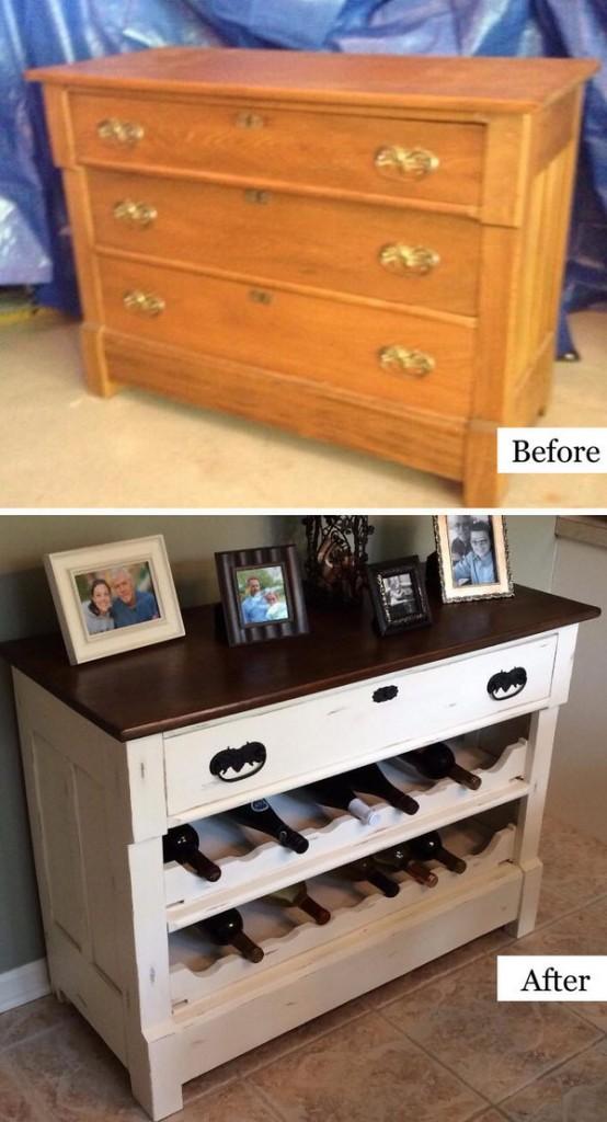 Creative DIY Dresser to Wine Rack