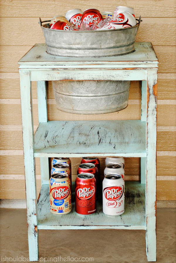 Thrift Store Side Table into a Beverage Station